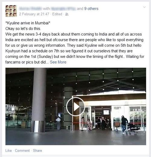 뭄바이 공항의 인도 팬이 남긴 페이스북 글