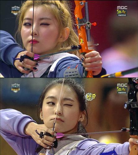 2015 설 아육대 최고의 명승부를 보여준 여자 양궁 단체전 포미닛 소현과 씨스타 보라