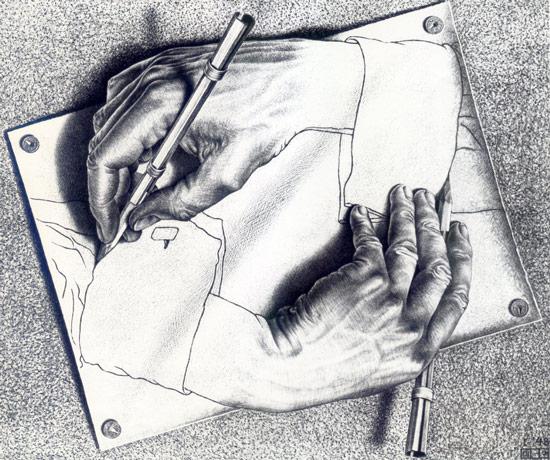 M.C.에셔, 〈그리는 손〉 (1948)
